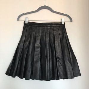 All Saints real leather pleated skirt